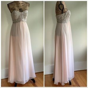 Betsy Adam bejeweled strapless maxi dress size 6